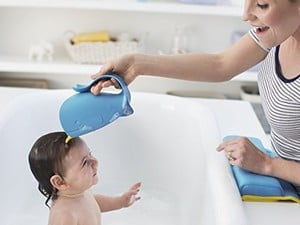 The $6 Moby waterfall rinser will help make bath time fun and fast