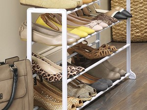 Keep your shoes organized and off the floor with this $7 rack
