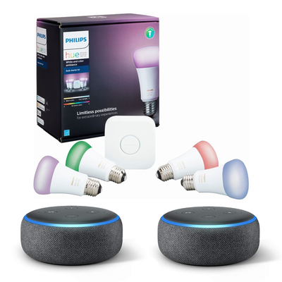 Philips Hue White and Color A19 LED Starter Kit with two Amazon Echo Dots