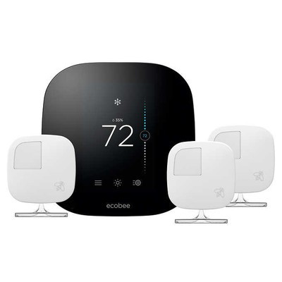 ecobee3 smart thermostat and three room sensors