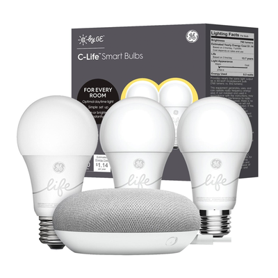 GE Smart Light Starter Kit bundle with Google Home Mini