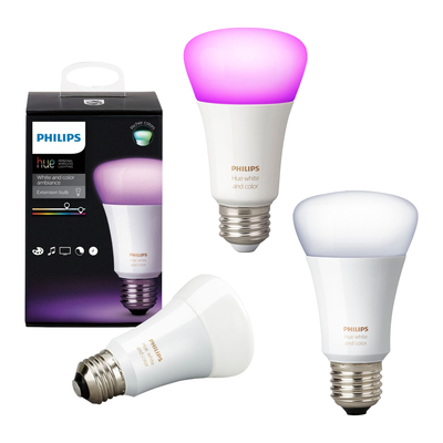Philips Hue White and Color Ambiance A19 Dimmable LED Smart Bulb 3-pack