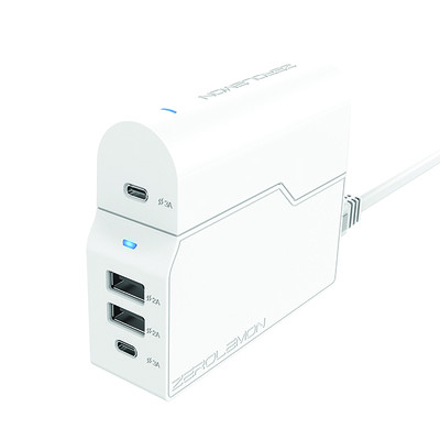 ZeroLemon 4-port USB-C wall charger with removable travel adapter